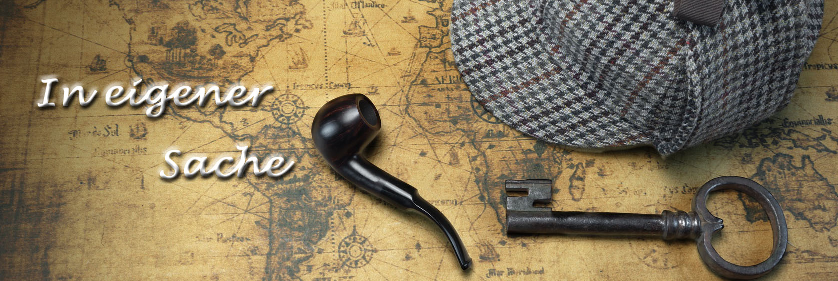 Deerstalker Sherlock Hat, Vintage Key, Smoking Pipe On Old Map.